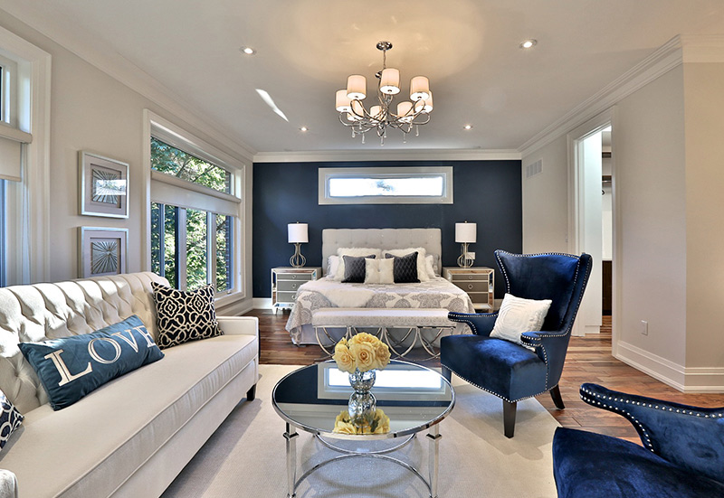 dark blue living room interior design