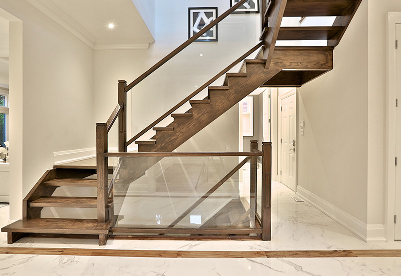 wooden stairs with glass